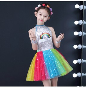 Girls princess dresses kids children  modern dance host chorus singers dress show model costumes singers host ballet dancing dress